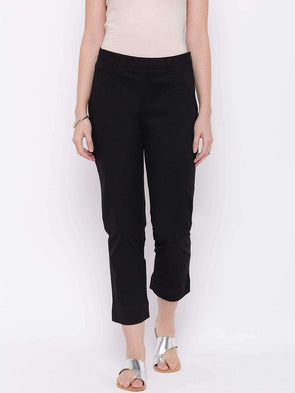 Women's Cotton Lycra Black Regular Fit Pants Cottonworld Women's Pants