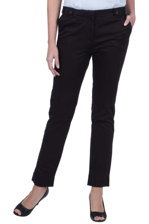 Cottonworld Women's Pants WOMEN'S 98% COTTON 2% LYCRA BLACK REGULAR FIT PANTS