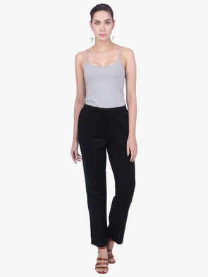 b96f435ba9 Cottonworld Women s Pants WOMEN S 98% COTTON 2% LYCRA BLACK REGULAR FIT  PANTS
