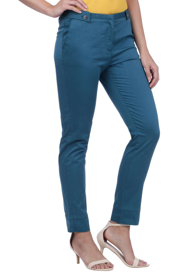 Women's Cotton Lycra Blue Haze Regular Fit Pants Cottonworld Women's Pants