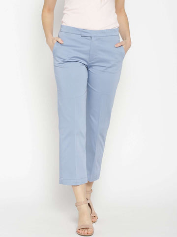 Cottonworld Women's Pants WOMEN'S 98% COTTON 2% LYCRA BLUE REGULAR FIT PANTS