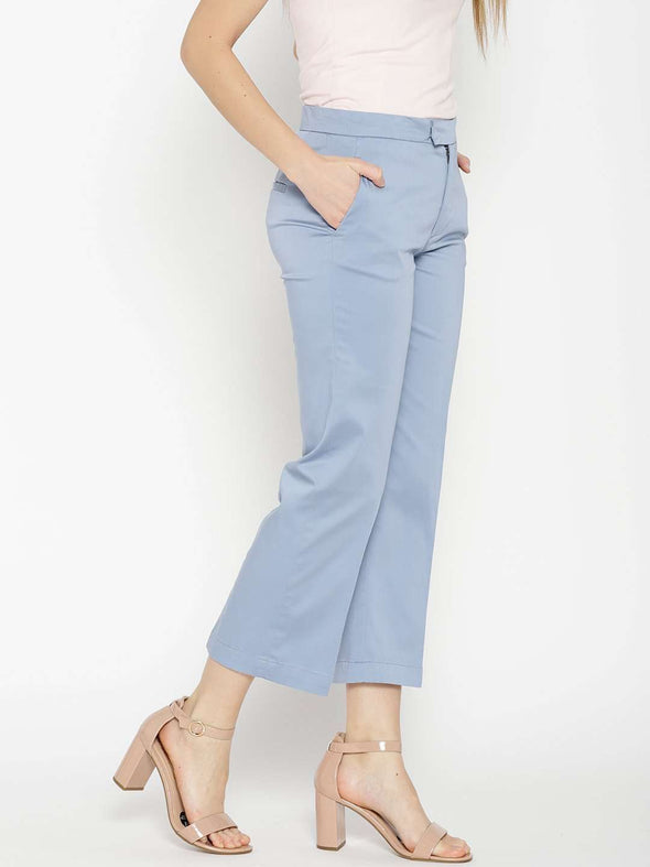 Women's Cotton Lycra Blue Regular Fit Pants Cottonworld Women's Pants