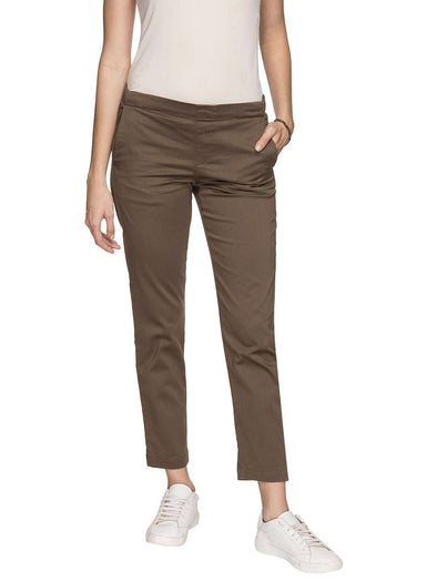 Cottonworld Women's Pants WOMEN'S 98% COTTON 2% LYCRA BROWN REGULAR FIT PANTS