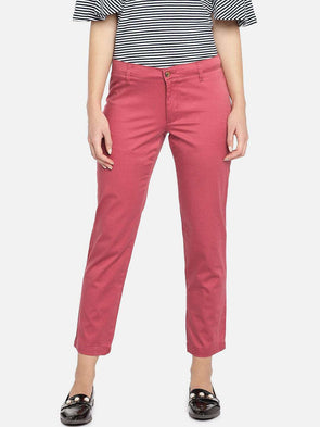 Women's Cotton Lycra Coral/Red Regular Fit Pants Cottonworld Women's Pants