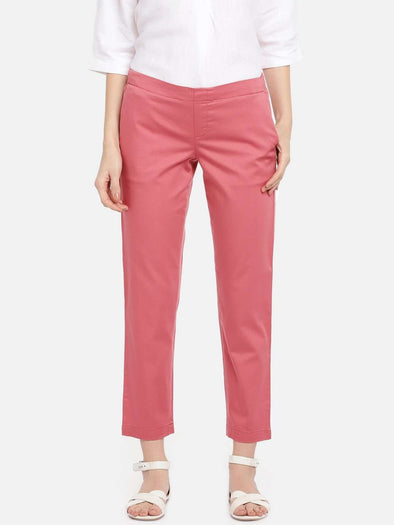 Cottonworld Women's Pants WOMEN'S 98% COTTON 2% LYCRA CORAL/RED REGULAR FIT PANTS