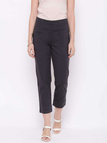 Cottonworld Women's Pants WOMEN'S 98% COTTON 2% LYCRA DARK GREY REGULAR FIT PANTS