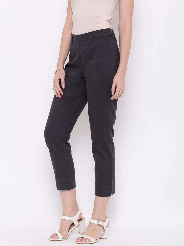 Women's Cotton Lycra Dark Grey Regular Fit Pants Cottonworld Women's Pants