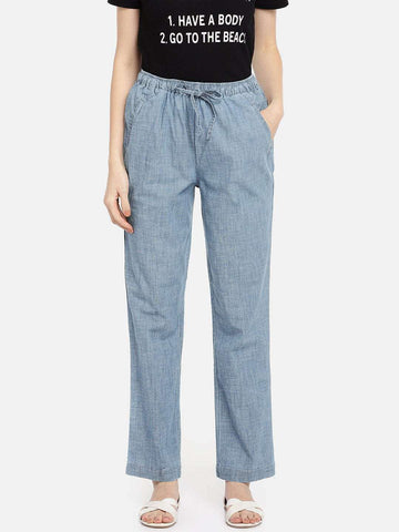 Cottonworld Women's Pants WOMEN'S 98% COTTON 2% LYCRA DENIM BLUE REGULAR FIT PANTS