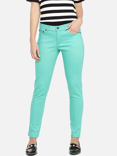 Cottonworld Women's Pants WOMEN'S 98% COTTON 2% LYCRA GREEN REGULAR FIT PANTS