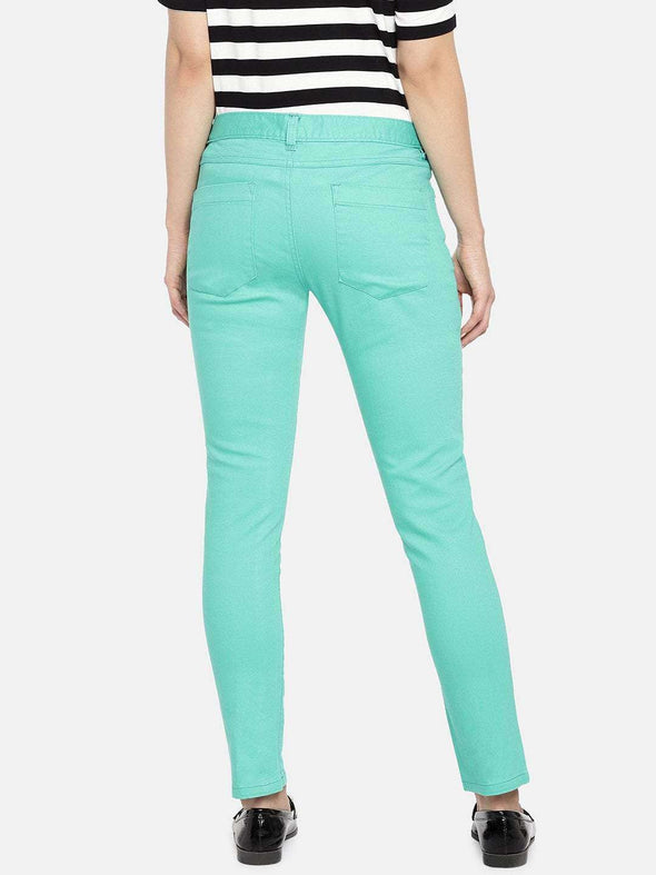 Women's Cotton Lycra Green Regular Fit Pants Cottonworld Women's Pants