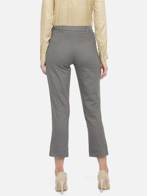 Women's Cotton Lycra Grey Regular Fit Pants Cottonworld Women's Pants