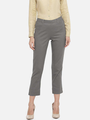 Cottonworld Women's Pants WOMEN'S 98% COTTON 2% LYCRA GREY REGULAR FIT PANTS