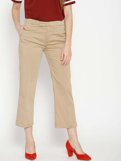 Cottonworld Women's Pants WOMEN'S 98% COTTON 2% LYCRA KHAKI REGULAR FIT PANTS