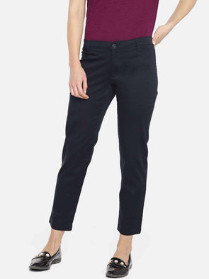 Cottonworld Women's Pants WOMEN'S 98% COTTON 2% LYCRA NAVY REGULAR FIT PANTS