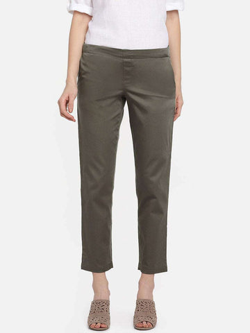 Cottonworld Women's Pants WOMEN'S 98% COTTON 2% LYCRA OLIVE REGULAR FIT PANTS