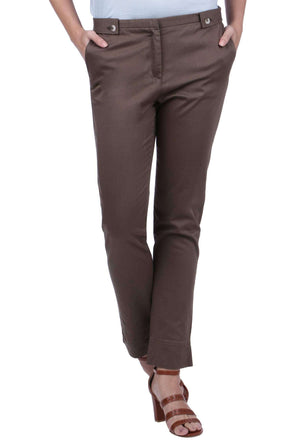 Women's Cotton Lycra Olive Regular Fit Pants
