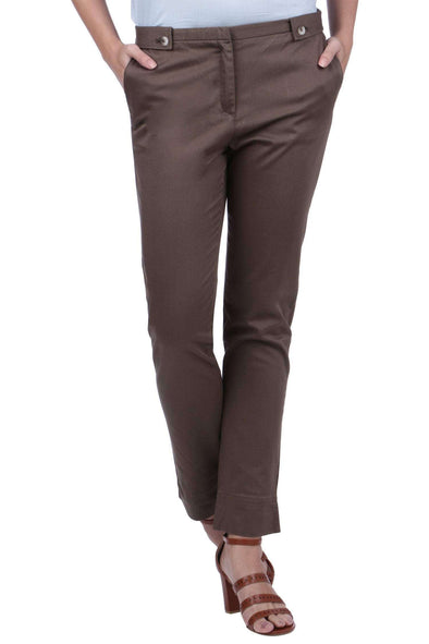 Women'S 98% Cotton 2% Lycra Olive Regular Fit Pants