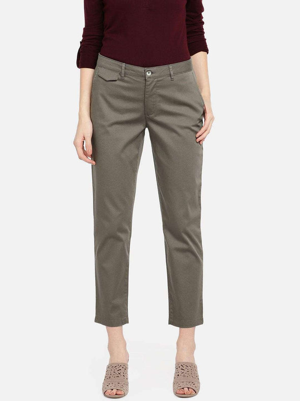 Cottonworld Women's Pants WOMEN'S 98% COTTON 2% LYCRA OLIVE STRAIGHT FIT PANTS
