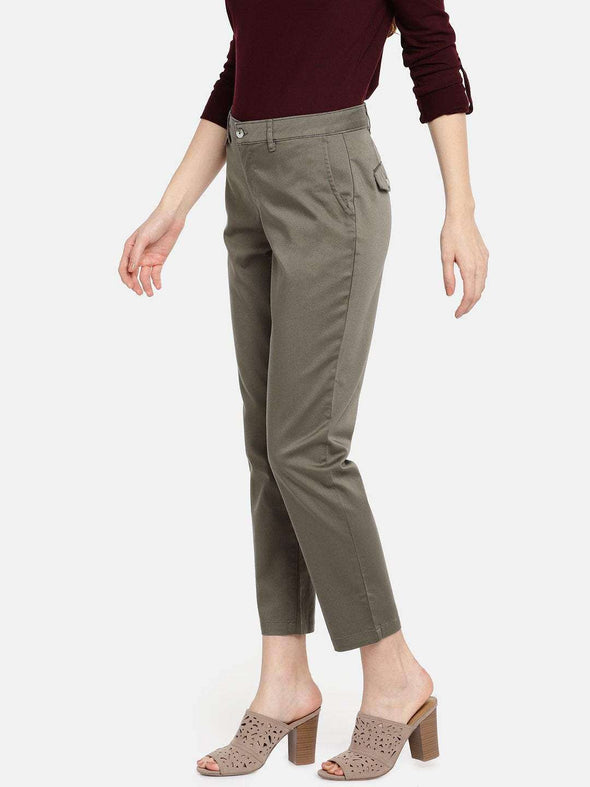Women's Cotton Lycra Olive Straight Fit Pants Cottonworld Women's Pants