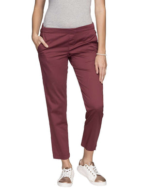 Women's Cotton Lycra Purple Regular Fit Pants Cottonworld Women's Pants