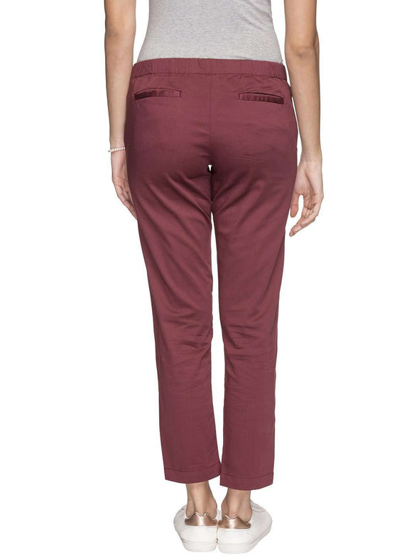 Cottonworld Women's Pants WOMEN'S 98% COTTON 2% LYCRA PURPLE REGULAR FIT PANTS