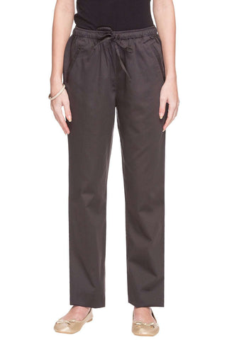 Cottonworld Women's Pants WOMEN'S 98% COTTON 2% LYCRA SLATE REGULAR FIT PANTS
