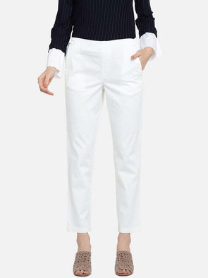 Women's Cotton Lycra White Regular Fit Pants Cottonworld Women's Pants