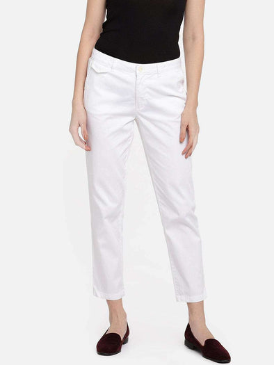 Cottonworld Women's Pants WOMEN'S 98% COTTON 2% LYCRA WHITE STRAIGHT FIT PANTS