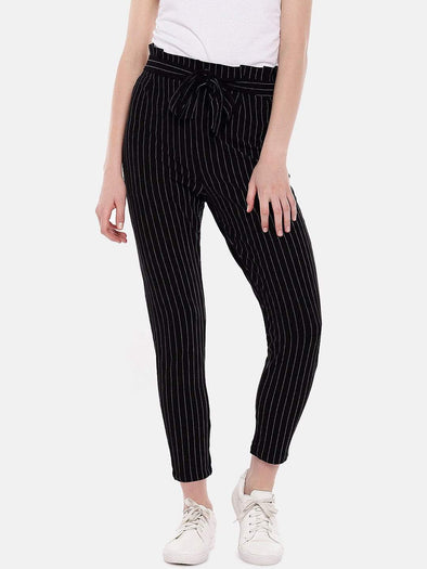 Women's Cotton Elastane Polyster Black White Regular Fit Kpants Cottonworld Women's Pants