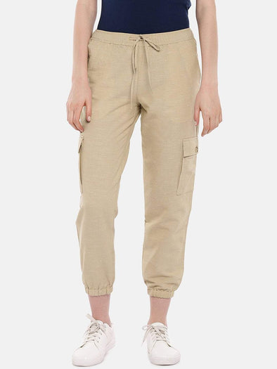 Cottonworld Women's Pants Women's Cotton Linen Beige Regular Fit Pants