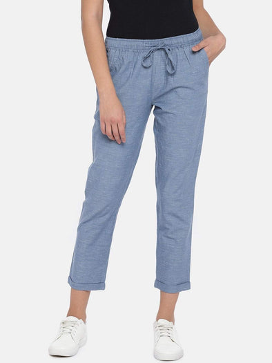 Women's Cotton Linen Blue/Grey Regular Fit Pants Cottonworld Women's Pants