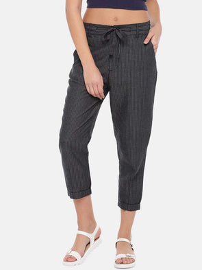 Women's Cotton Linen Grey Regular Fit Pants Cottonworld Women's Pants