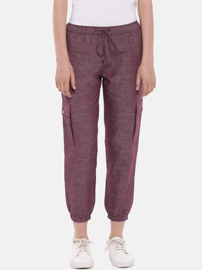Women's Cotton Linen Maroon Red Regular Fit Pants Cottonworld Women's Pants