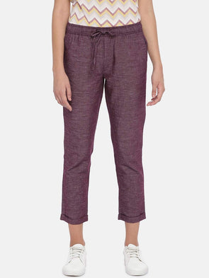 Women's Cotton Linen Maroon/Red Regular Fit Pants Cottonworld Women's Pants