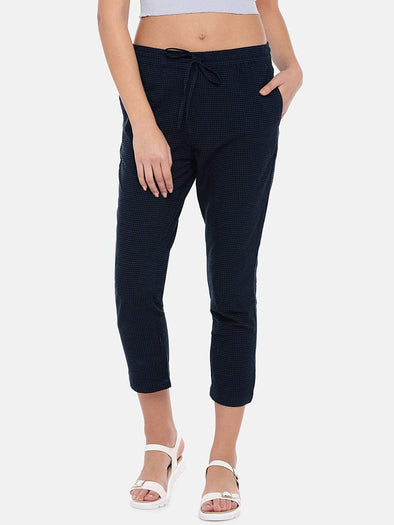 Women's Cotton Linen Navy Regular Fit Pants Cottonworld Women's Pants
