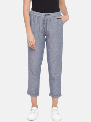 Cottonworld Women's Pants Women's Cotton Linen Navy Regular Fit Pants