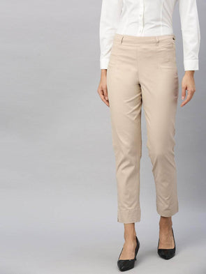 Cottonworld Women's Pants Women's Cotton  Lycra Beige Regular Fit Pants