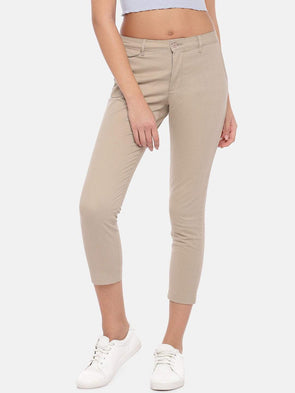 Cottonworld Women's Pants Women's Cotton Lycra Beige Straight Fit Pants