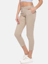Women's Cotton Lycra Beige Straight Fit Pants Cottonworld Women's Pants