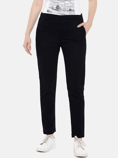 Women's Cotton Lycra Black 2 Regular Fit Pants Cottonworld Women's Pants