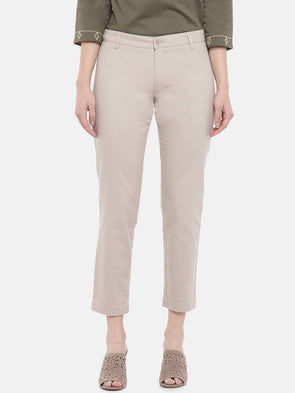Cottonworld Women's Pants Women's Cotton Lycra Brown Regular Fit Pants