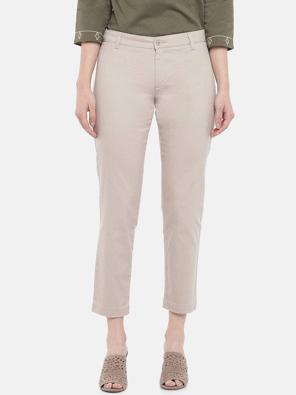 Women's Cotton Lycra Brown Regular Fit Pants Cottonworld Women's Pants