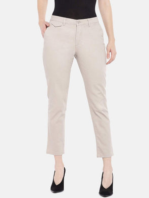 Women's Cotton Lycra Brown Straight Fit Pants Cottonworld Women's Pants
