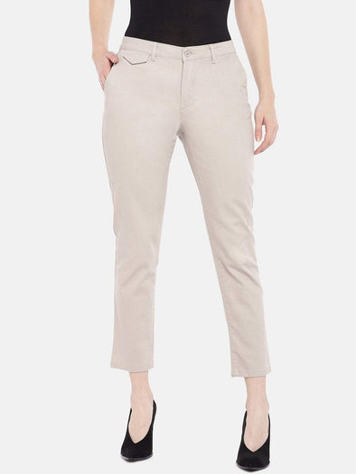Cottonworld Women's Pants Women's Cotton Lycra Brown Straight Fit Pants
