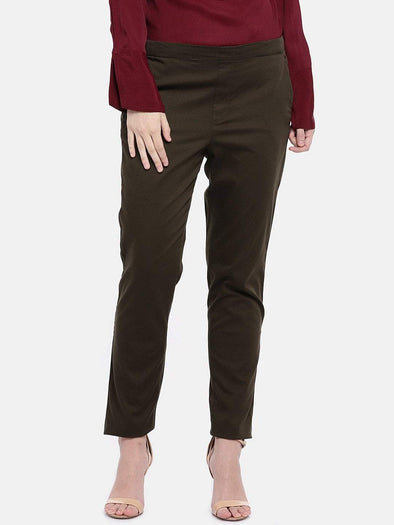 Cottonworld Women's Pants Women's Cotton Lycra Dark Brown Regular Fit Pants