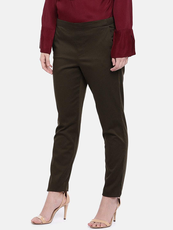 Women's Cotton Lycra Dark Brown Regular Fit Pants Cottonworld Women's Pants