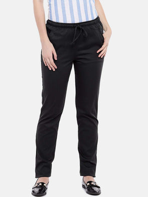 Cottonworld Women's Pants Women's Cotton Lycra Dark Grey Regular Fit Pants