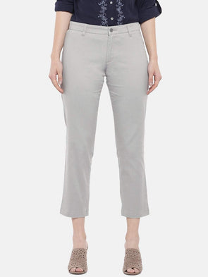 Cottonworld Women's Pants Women's Cotton Lycra Grey Regular Fit Pants