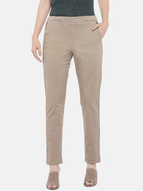 Cottonworld Women's Pants Women's Cotton Lycra Khaki Regular Fit Pants