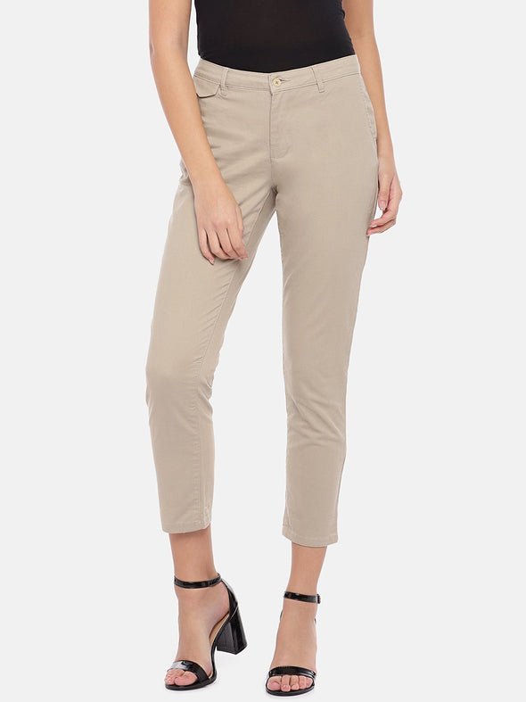 Women's Cotton Lycra Khaki Straight Fit Pants Cottonworld Women's Pants